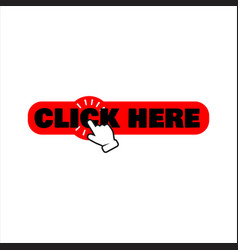 Hand pointer clicking click here button round vector