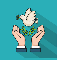 Hands with dove branch olive symbol peace vector
