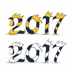 Happy new year 2017 with rooster vector image