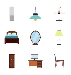 Home furniture icons set flat style vector