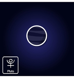 Icons with Pluto and astrology symbol of planet vector