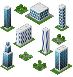 Isometric city set urban landscape 3d elements to vector