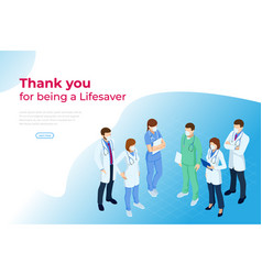 Isometric concept thank you doctors and nurses vector
