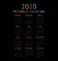 kids 2020 year calendar concept banner vector image