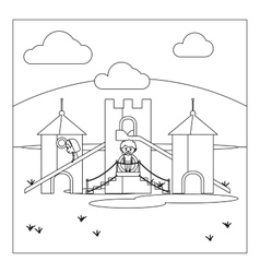 Kids on playground coloring book page vector