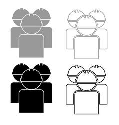 labors group workers in helmet icon set grey vector image