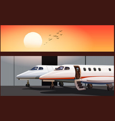 Luxury business jets at sunset vector