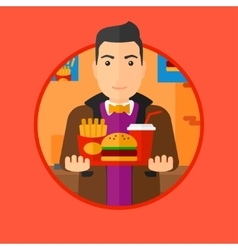 Man with tray full of fast food vector