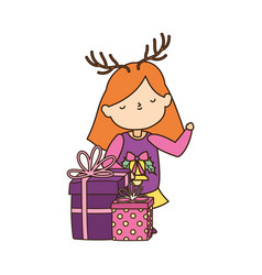 Merry christmas little girl with ugly sweater gift vector