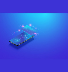 mobile internet banking isometric concept secure vector image