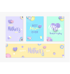 Mother day card and label set of paper flowers vector