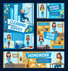 office windows cleaning and house clean service vector image