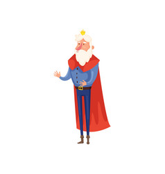 old senior king with small gold crown and long red vector image