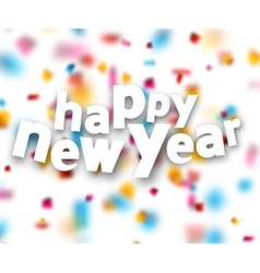 Paper happy new year confetti sign vector