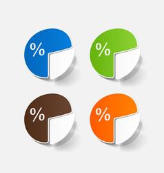 Paper sticker business pie chart vector