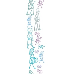 People walking vertical seamless pattern vector image