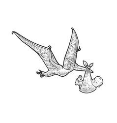 Pterodactyl carries newborn baby sketch vector