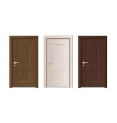 realistic detailed 3d wooden doors set vector image
