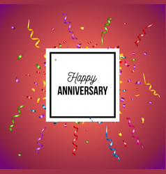 red happy anniversary poster or card design vector image