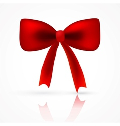 red satin bow with reflect shadow vector image