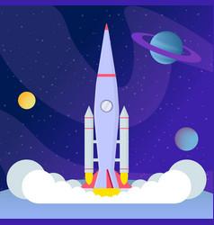 Rocket takeoff landing flat vector