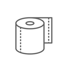 Roll toilet paper napkins line icon vector