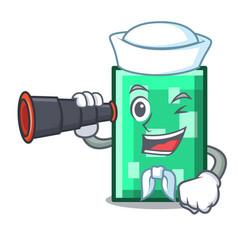 Sailor with binocular rectangle mascot cartoon vector