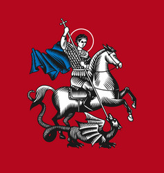 Saint george on red background vector