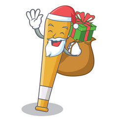 santa with gift baseball bat character cartoon vector image