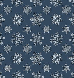 Seamless Christmas pattern with drawn snowflakes vector image