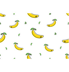seamless pattern banana icons isolated on white vector image
