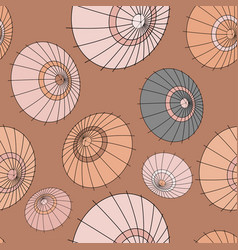 Seamless pattern with beige japan umbrellas vector