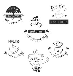 Set 6 handwritten fall quotes cozy time vector