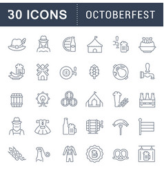 set line icons octoberfest vector image