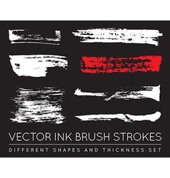 Set of Black Pen Ink Brush Strokes Grunge Ink vector image