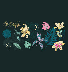 set of flowers and leaves in a realistic and vector image