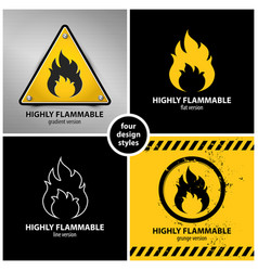 Set of highly flammable warning symbols vector