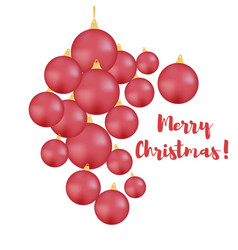 set of red balls on a christmas tree merry vector image