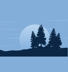 silhouette of tree with moon scenery vector image