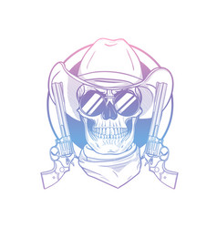 sketch skull with cowboy hat vector image