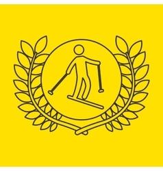 skiing sportsman flag background design vector image