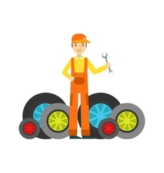 Smiling Mechanic And MAny Wheels In The Garage vector image