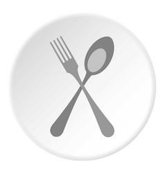 spoon and fork icon flat style vector image