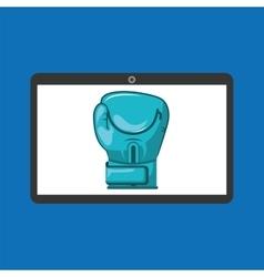 Sport laptop app concept glove boxing vector