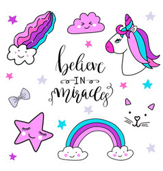 Stickers set with unicorn rainbow star cloud vector