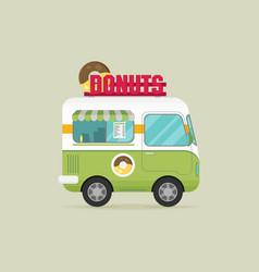 street fast food truck set flat design vector image