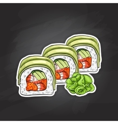 sushi color sketch Dragon roll vector image