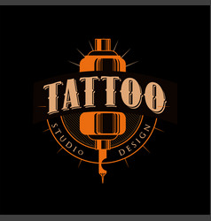 tattoo studio design retro styled emblem with vector image