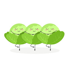 three cartoon cabbages performing swan lake ballet vector image