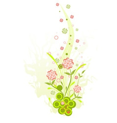three floral on a grunge background for your desig vector image